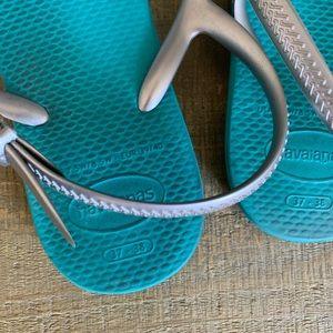 Havaianas Shoes - Havaiana Freedom Sl Sandal Teal Rhinestones
